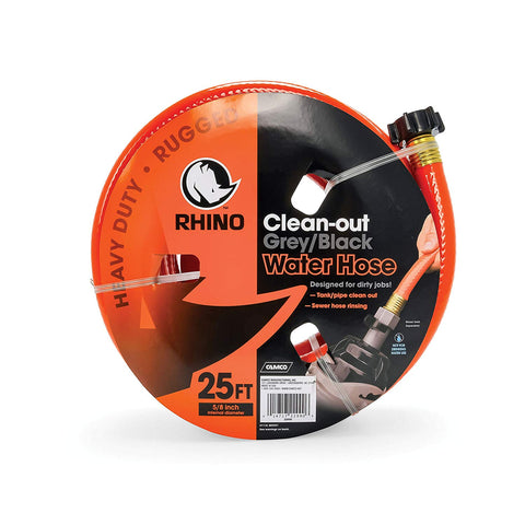 "Camco 25ft RhinoFLEX Gray/Black Water Tank Clean Out Hose - Ideal For Flushing Black Water, Grey Water or Tote Tanks 5/8"" Inside Diameter (Orange) (22990)"