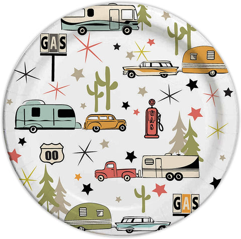 "Camp Casual Eco-Friendly 10 1/16"" Paper Plates 24 ct - Road Trip CC-007R10"