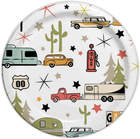 "Camp Casual Eco-Friendly 8 1/2"" Paper Plates 24 ct - Road Trip CC-007R8"