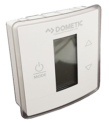 Wall Thermostat; Use With Dometic Air Conditioners; Single Zone; Heat/ Cool; Programmable; LCD Display; 12 Volt DC; With Low/ High/ Auto Fan Speed Control; With Auto/ On Mode Fan Control; Polar White Capacitive Touch Case 3316250000
