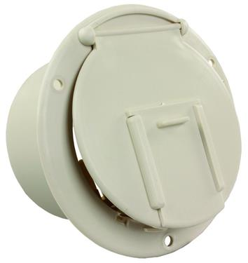 JR Products 370-1-A Colonial White Round Electric Cable Hatch with Back