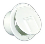 JR Products 370-2-A Polar White Round Electric Cable Hatch with Back
