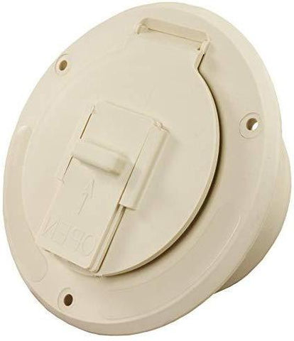 JR Products (S-23-14-A Colonial White Economy Round Electric Cable Hatch