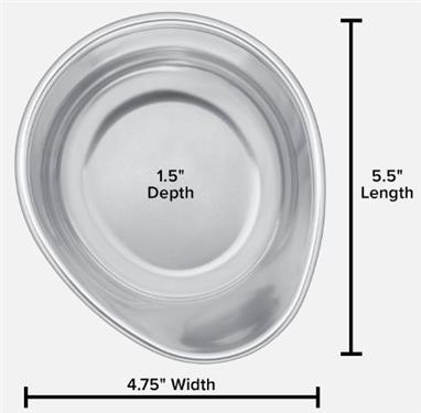 "Pet Comfort Replacement Stainless Steel Pet Dish for 1.5"" or 3"" Stand, 8 Ounce"