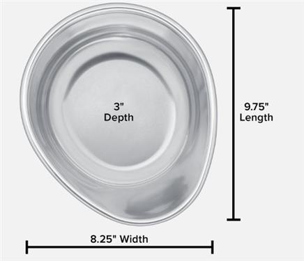 "Pet Comfort Replacement Stainless Steel Pet Dish for 10"" or 12"" Stand, 64 Ounce"