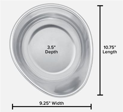 "Pet Comfort Replacement Stainless Steel Pet Dish for 14"" Stand, 96 Ounce"