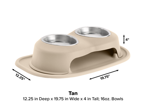 "Pet Comfort Double High Dog Bowl with X-Large Mat Feeding System, 4"" High - Tan"