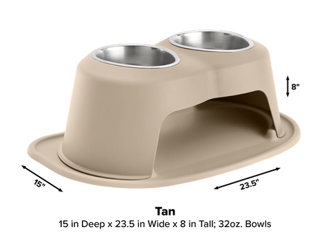 "Pet Comfort Double High Dog Bowl with X-Large Mat Feeding System, 8"" High - Tan"