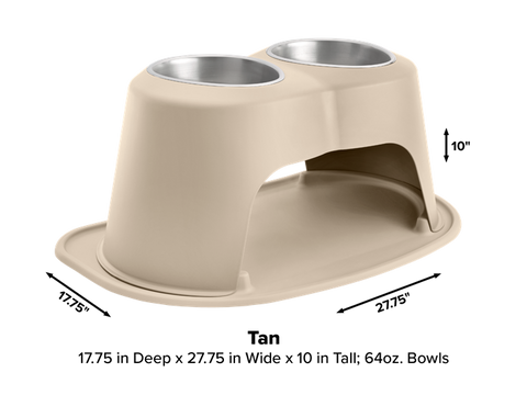 "Pet Comfort Double High Dog Bowl with X-Large Mat Feeding System, 10"" High - Tan"