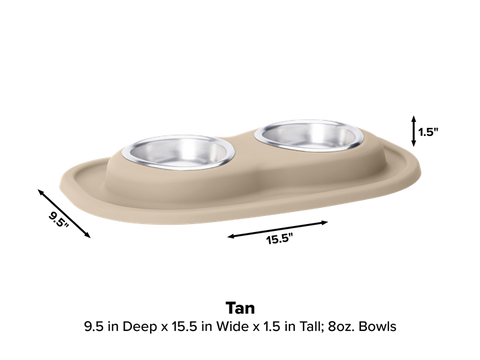Pet Comfort Double Low Dog Bowl with Integrated Mat Feeding System, 8 Ounce - Tan