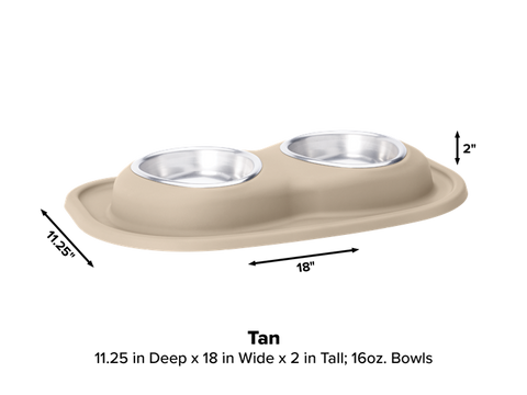 Pet Comfort Double Low Dog Bowl with Integrated Mat Feeding System, 16 Ounce - Tan