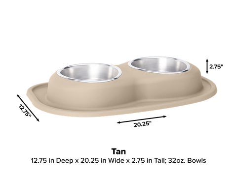 Pet Comfort Double Low Dog Bowl with Integrated Mat Feeding System, 32 Ounce - Tan