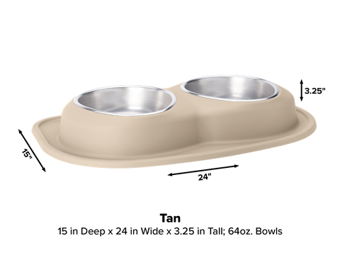 Pet Comfort Double Low Dog Bowl with Integrated Mat Feeding System, 64 Ounce - Tan