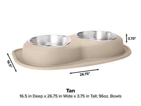 Pet Comfort Double Low Dog Bowl with Integrated Mat Feeding System, 96 Ounce - Tan