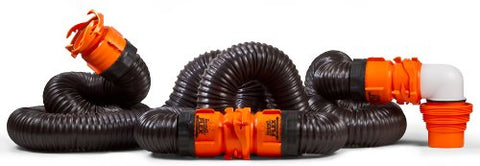 Camco 20' RhinoFLEX 20-Foot RV Sewer Hose Kit, Swivel Transparent Elbow with 4-in-1 Dump Station Fitting-Storage Caps Included 39741