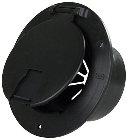 JR Products 541-3-A Black Deluxe Round Electric Cable Hatch with Back