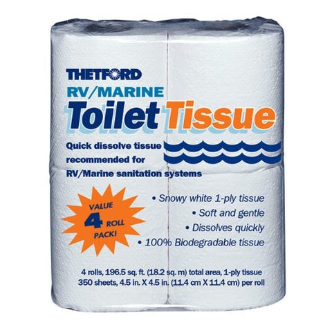 RV/ Marine Toilet Tissue - Toilet Paper for RV and Marine - 1-ply - 4 rolls - Thetford 20804