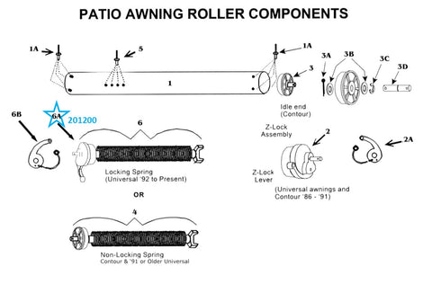 Zip Dee Z Spring Lock Assembly for Patio Awning Roller - 201200