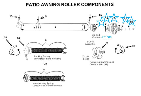 Zip Dee Idle End Assembly for Patio Awning Roller - 201500