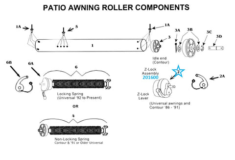 Zip Dee Awning Patio Roller Z Lock Assembly - 201600