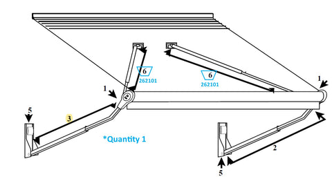 Zip Dee Complete Gas Rafter Assembly for Relax 12V Electric Contour Awning - 262101