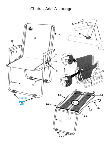 Zip Dee Z-Pad for Standard or Wide Chair or Add-A-Lounge, Single - 321271