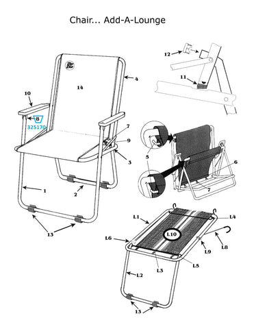 Zip Dee Chair Arm Bracket for Standard or Wide Chair - 325170