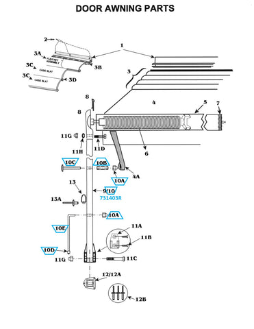 Zip Dee Satin Door Awning Arm, Rear - 731403R