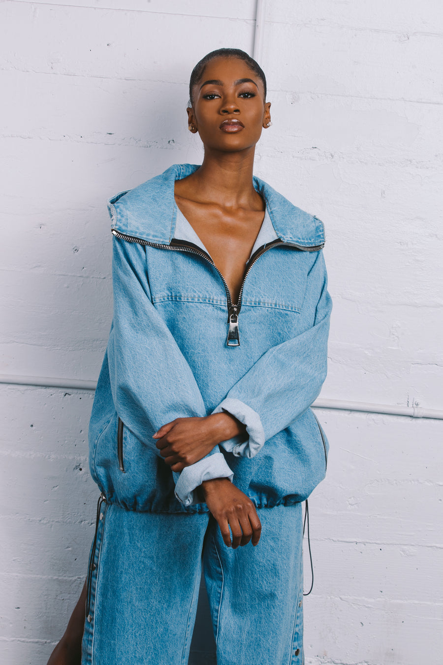 Pull It Over Oversized Denim Hoodie