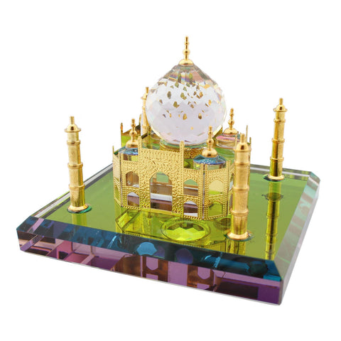 Mini Size World Wonder ''The Taj Mahal'' Show Piece made of Crystal - Gold - Tootpado - 1