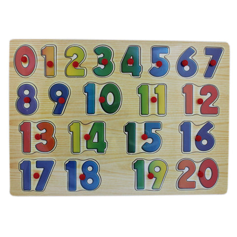 0-20 Wooden Number Puzzle Picture Board With Knobs - (1c236) - Tootpado