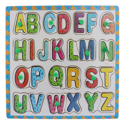 A-Z Wooden Dual Alphabet Puzzle Picture Board With Knobs - (1c238) - Tootpado