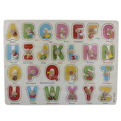 A-Z Wooden Alphabet Puzzle Picture Board With Knobs - (1c240) - Tootpado