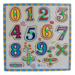 0-9 Wooden Number & Math Signs Puzzle Picture Board With Knobs - (1c243) - Tootpado
