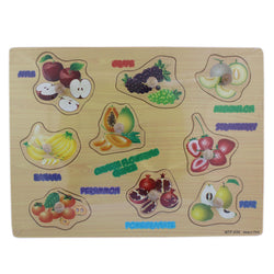 9 Wooden Fruit Puzzle Picture Board With Knobs - (1c245) - Tootpado