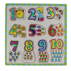 0-9 Wooden Number Matching Puzzle Picture Board With Peg Knobs- Learning Educational Toys for kids 18M+