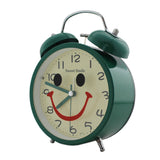 Twin Bell Alarm Clock Round Smiley Design - Dark Green (1h171) -  Kids Room Desk and Home Decor