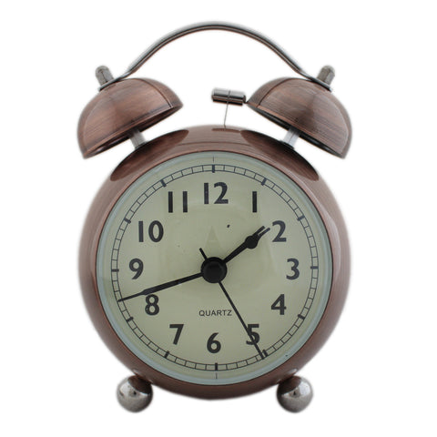 Twin Bell Alarm Clock Round Smiley Design - Bronze (1h202) -  Kids Room Desk and Home Decor