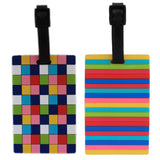 Luggage Tag - Pack of 2 (LNTq035) - Chequered and Lines Bag Travel Tag