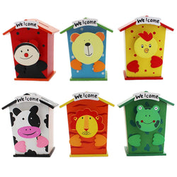 Tootpado Piggy Bank Wood House Animal Designs (1j252) - Pack of 6 - For Coins/Crafts Coin Box Money Safe Return Gifts - Tootpado