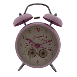Alarm Clock With Light Quartz Twin Bell Cycle Design - Pink (CLKf154)