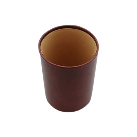 1 Compartment Round Leather Pen Stand - Brown (Jb007) - Home Office Desk Organizer Pencil Holder