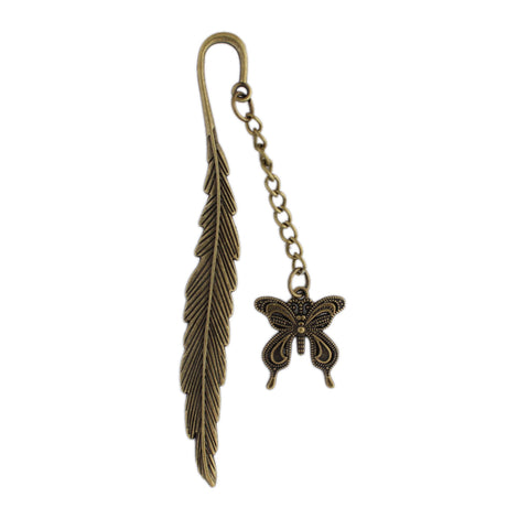 Metal Bookmarks Butterfly With Feather Design - (STAh297) - Antique Copper Look
