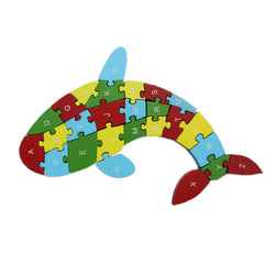Animal Wooden Jigsaw Puzzle Alphabet Number Building Blocks - Fish (WNTb062)