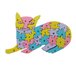Animal Wooden Jigsaw Puzzle Alphabet Number Building Blocks - Cat (WNTb063)