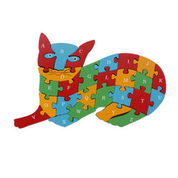 Animal Wooden Jigsaw Puzzle Alphabet Number Building Blocks - Cat (WNTb065)