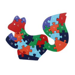 Animal Wooden Jigsaw Puzzle Alphabet Number Building Blocks - Squirrel (WNTb066)