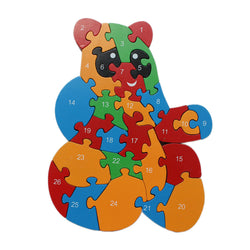 Animal Wooden Jigsaw Puzzle Alphabet Number Building Blocks - Panda (WNTb067)