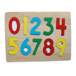 0-9 Wooden Number Puzzle Board With Peg Knobs - (WNTb074)
