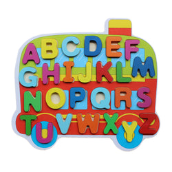 A-Z Wooden Alphabet Puzzle Board With Peg Knobs - Bus (WNTb076)